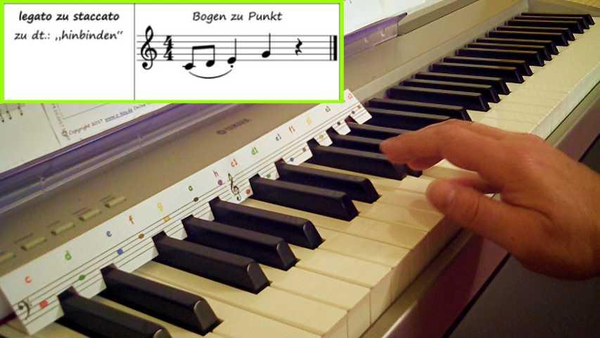 Eine Hand spielt Artikulationsübungen am E-Piano