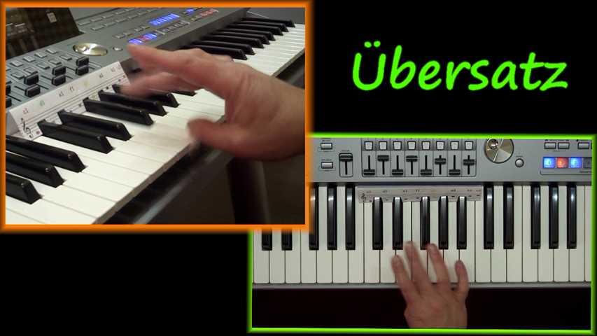 rechte Hand demonstriert die Übersatztechnik