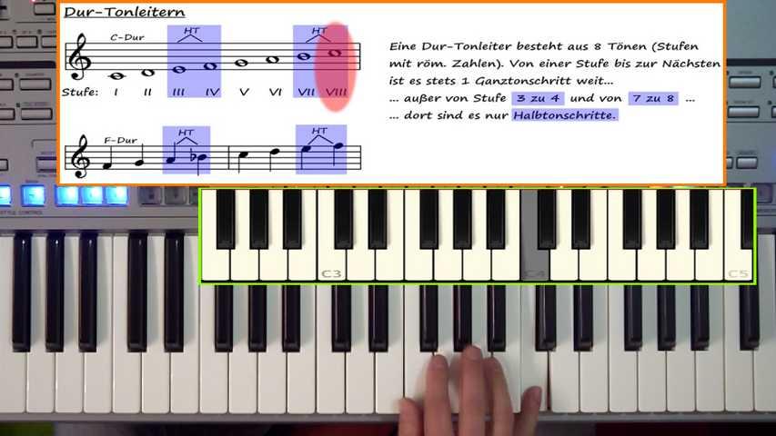 im Video wird der Tonleiter-Aufbau erklärt