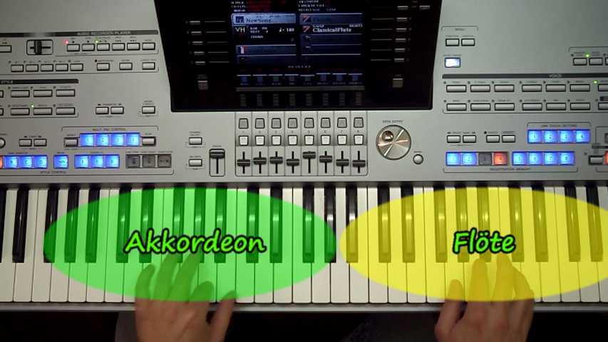 Tastatursplitting wird am Tyros 5 veranschaulicht