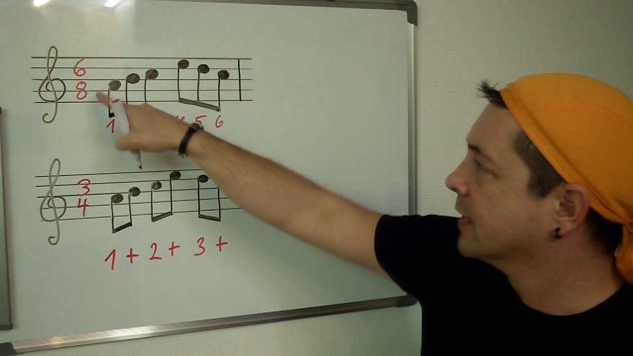 Musiklehrer zeigt für Schüler etwas an Tafel