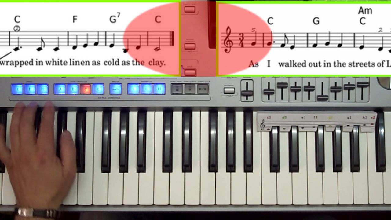 mit Hand am Keyboard nach Noten spielen