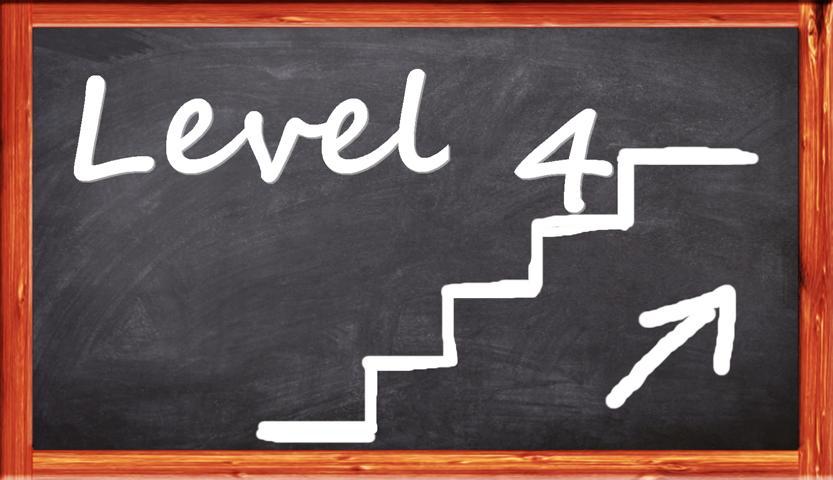 auf Tafel Level 4 Sign Treppe Aufwärtspfeil
