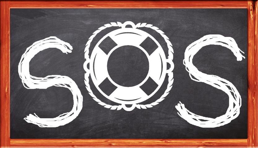 SOS mit Rettungsring weiß auf Tafel gezeichnet