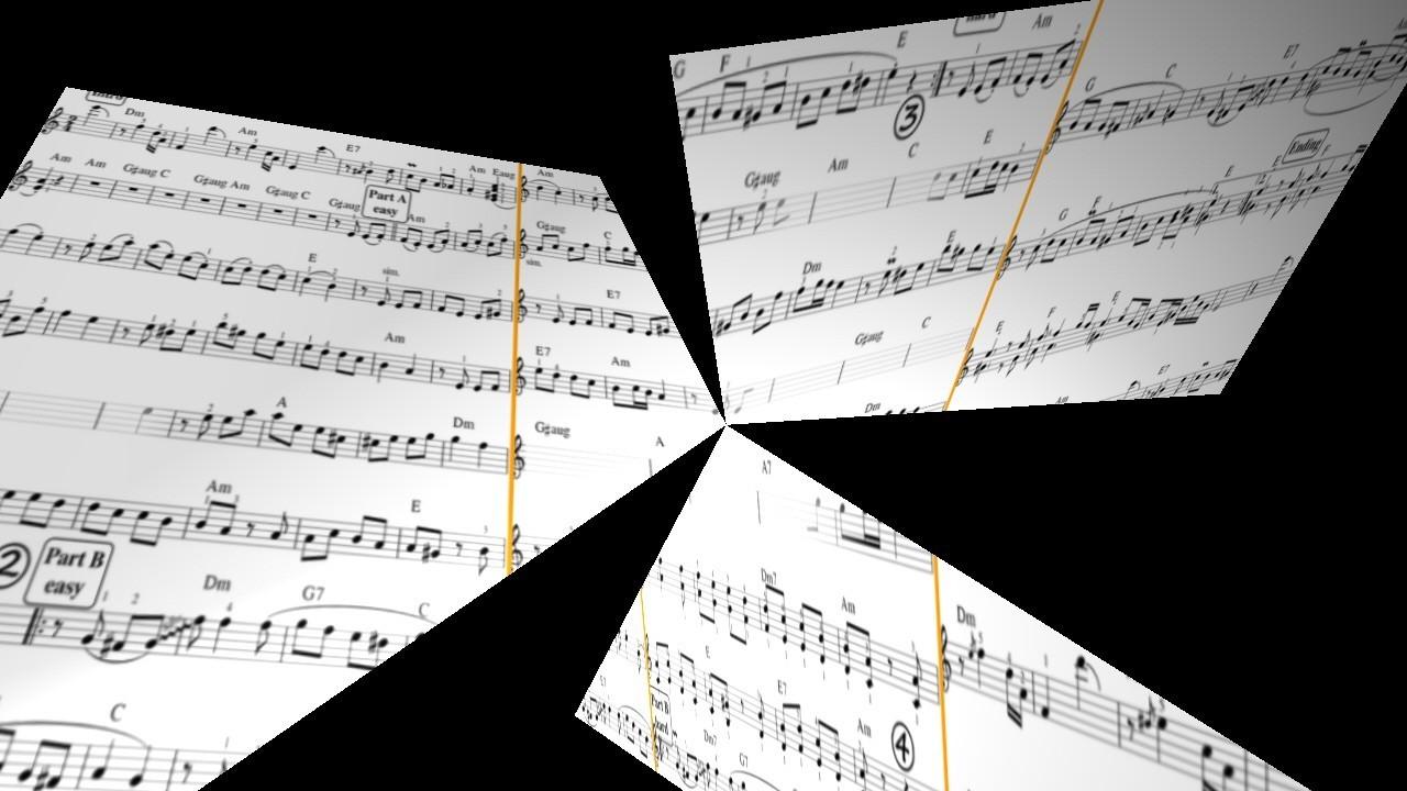Notenblätter in 3 Teile zerrissen