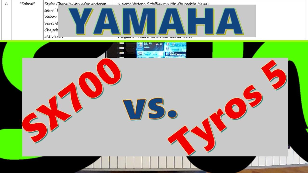 Schriftzug YAMAHA Tyros 5 vs. SX700
